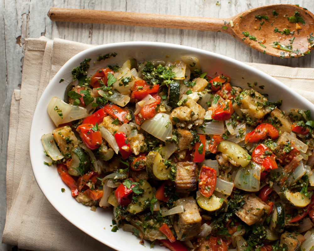 Roasted Ratatouille with Basil Pistou from Vegan Without Borders by Robin Robertson