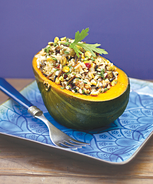 This flavorful and colorful Stuffed Squash with Brazil Nuts and Pistachios makes an attractive entrée for a Thanksgiving dinner – vegan and gluten-free