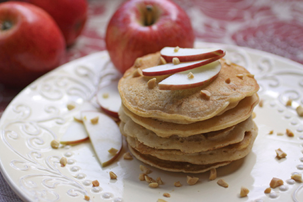 Vegan Apple-Almond Butter Pancakes
