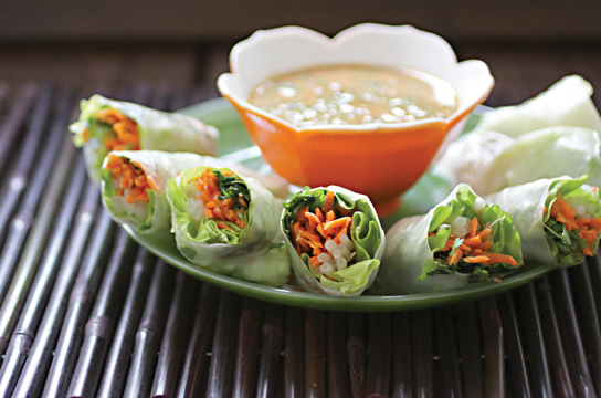 Robin Roberton's Asian Spring Rolls with Spicy Peanut Dipping Sauce, vegan and gluten-free