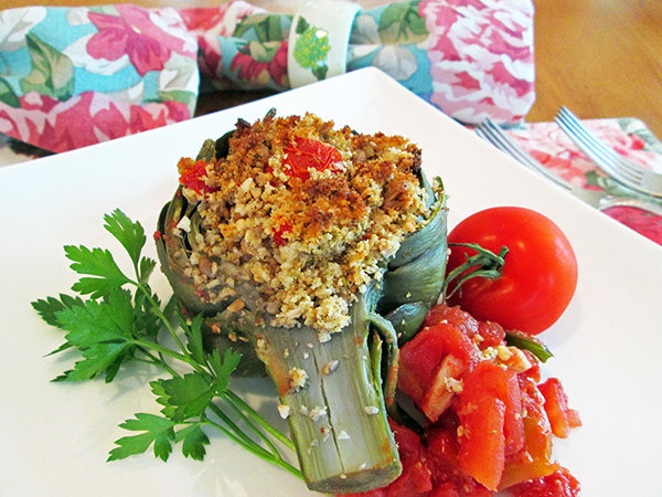 Cashew Stuffed Artichokes from Jazzy Vegetarian's Deliciously Vegan by Laura Theodore