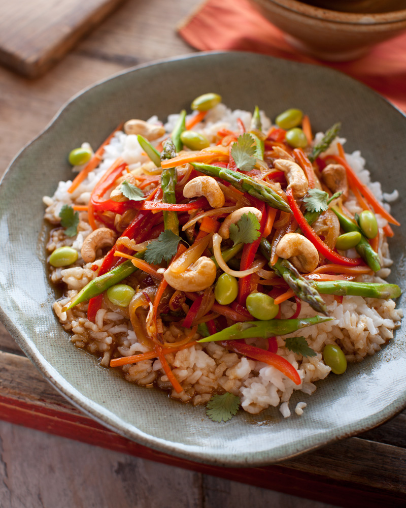 Lemongrass Asparagus and Edamame Stir-fry from Vegan Without Borders by Robin Robertson