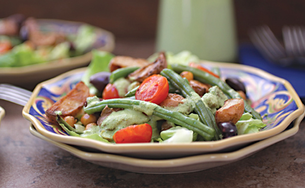 Vegan Roasted Niçoise Salad with Cashew Goddess Dressing from The Nut Butter Cookbook by Robin Robertson