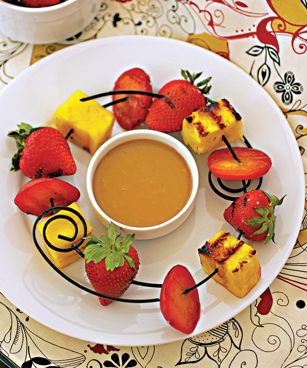 Grilled Fruit Satays with Pineapple-Coconut Peanut Sauce from The Nut Butter Cookbook by Robin Robertson (vegan and gluten-free)