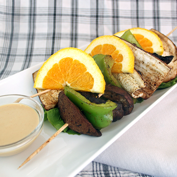 Spice Rubbed Vegetable Skewers with Cashew Sauce (vegan and gluten-free) from The Nut Butter Cookbook by Robin Robertson