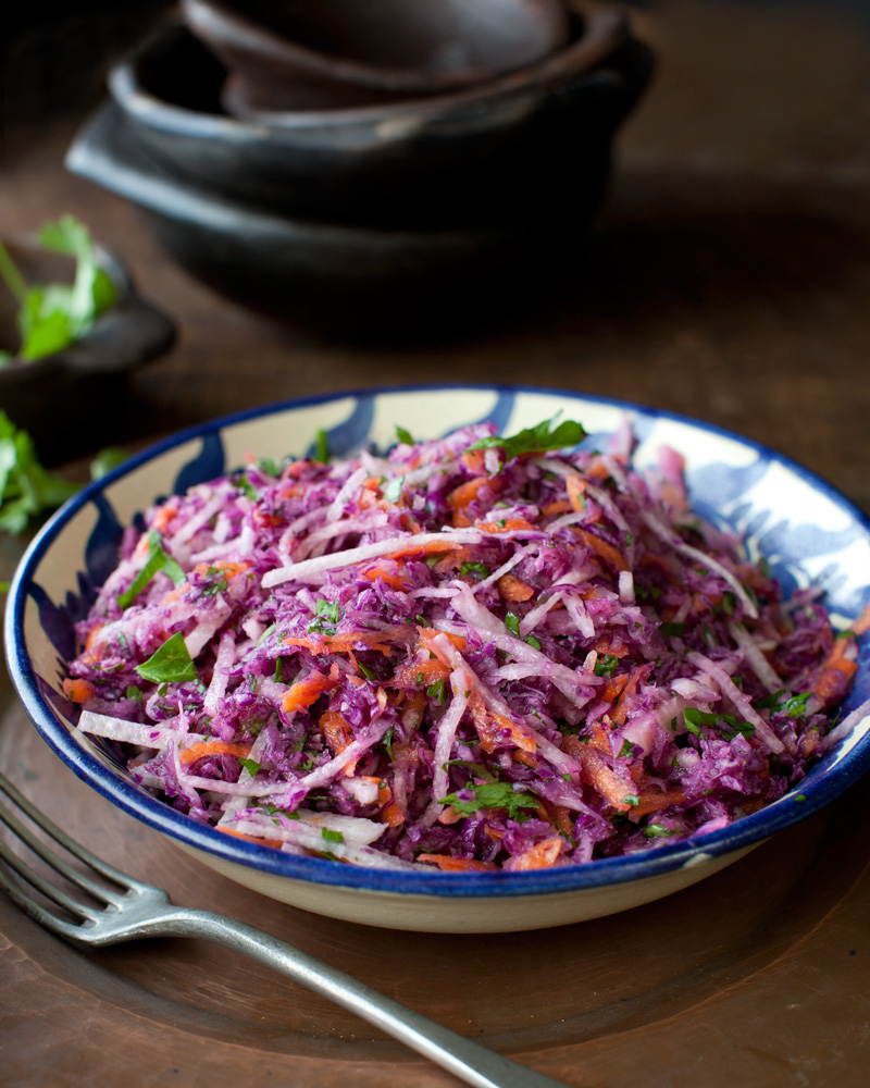 Cilantro-Jicama Slaw with Lime-Orange Dressing from Veganize it! by Robin Robertson (gluten-free)