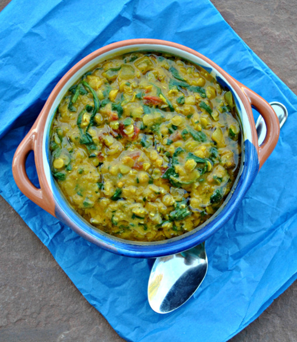 Robin Robertson's Coconut Spinach and Lentil Dal is a quick and cozy dinner dish. It's vegan and gluten-free. #vegan #vegandinner #glutenfree