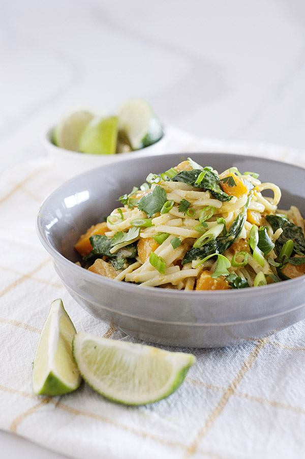 Coconut Curry Noodles and Butternut Squash from One-Dish Vegan by Robin Robertson is a quick and easy dinner dish. It's vegan and gluten-free. #vegan #glutenfree #vegandinner #vegancurry #vegannoodles