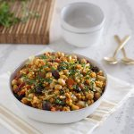 This delicious One-Pot Sicilian Couscous dish from One-Dish Vegan is made with Israeli couscous, chickpeas, olives, and an assortment of vegetables.